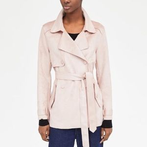 NWOT Zara Pink Faux Suede Wrap Trench Coat